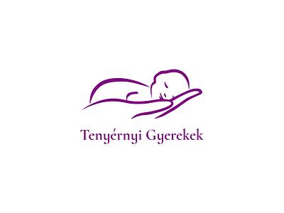Logo of the foundation for premature babies minimal children hand palmful palm purple baby logo design logo