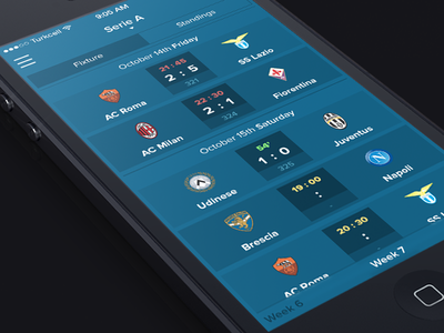 Fixture Screen - iOS7 sports fixture ios7 iphone user-interface user-experience soccer sahan football score
