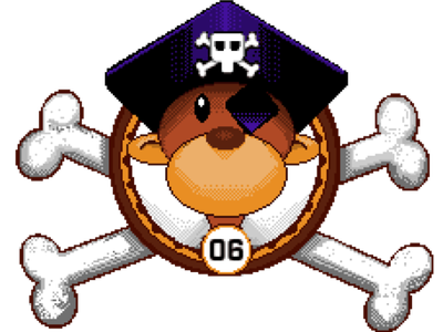 Pirate Monkey arcade coin bones pirate pixel pixel art monkey branding design illustration square logo cogwurx