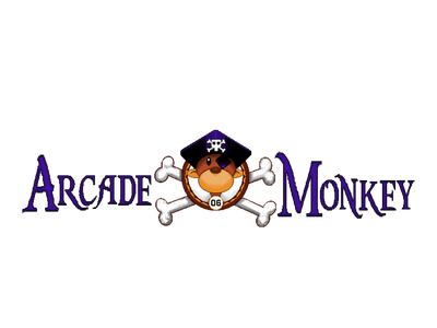 Arcade Monkey Logo pirate monkey arcade pixel pixel art branding design illustration logo retro cogwurx