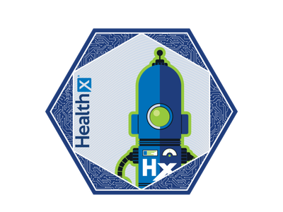 Healthx Coaster swag brand corporate blue coaster hexagon robot logo vector branding design illustration cogwurx