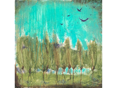 Crows Over The Grove landscape green forest trees flock birds crows crow square illustration oil painting abstract expressionism abstract cogwurx