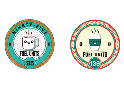 Fuel Units v 2 face cute coin mug cup coffee branding logo design illustration retro cogwurx