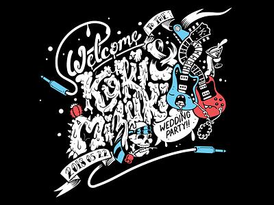 Koki and Mizuki's Wedding Party Sign celebration love organic loose guitar wedding music band lettering art