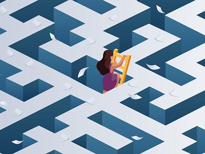 Building toward a frictionless, compliant future- Blog Image labyrinth maze art vector marketing illustration graphic gradient flat communication brand blog