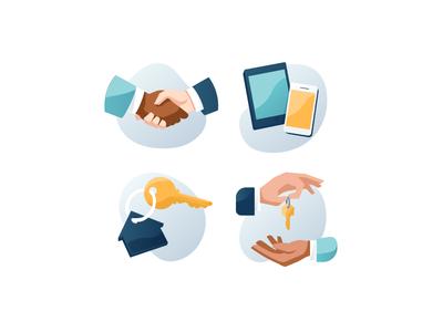 Blend: Graphic Icons keychain handshake communication marketing spot hands key devices icon illustration art graphic