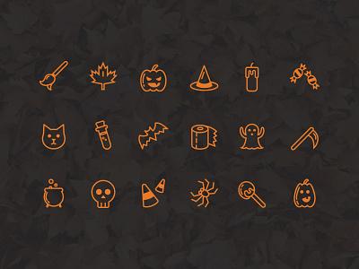 Freebie - Halloween Icon Set vector candy spider ghost pumpkins set icon halloween freebie