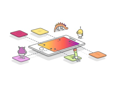 Feeling Lost? - Illustration monsters illustration vector lost phone isometric