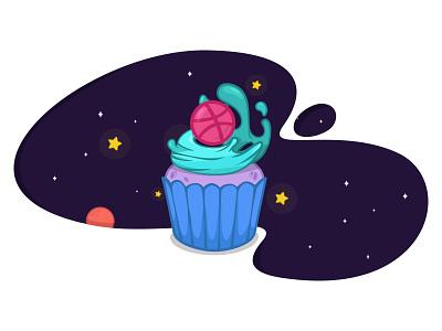 Dribbble Invites invitations giveaway illustration cupcake vector invite dribbble space cake