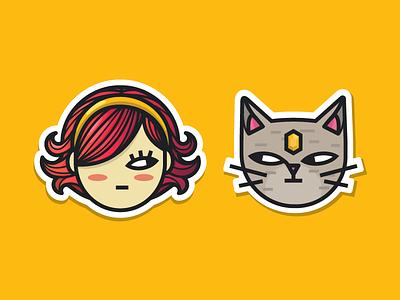 Kat & Cat Sticker illustration vector face sticker jewel pink girl cat