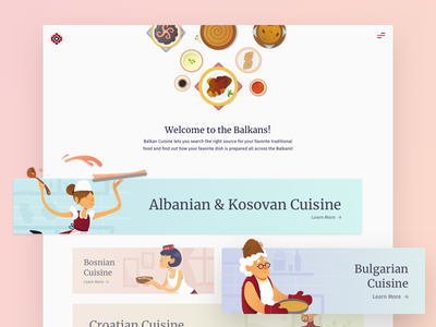 Landing Page - Balkan Cuisine cards landing page desktop ux ui tasty balkans food illustration product cuisine