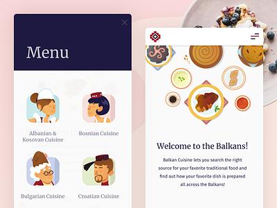 Balkan Cuisine - Presentation cuisine product illustration food people balkans tasty ui ux mobile responsive