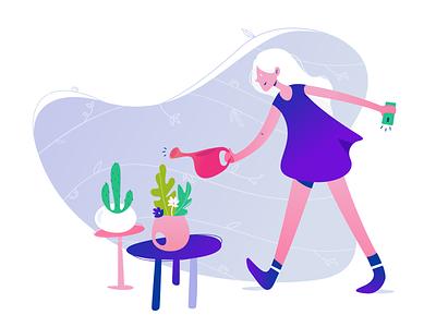 Remember to water those flowers app flower plants girl brand illustration