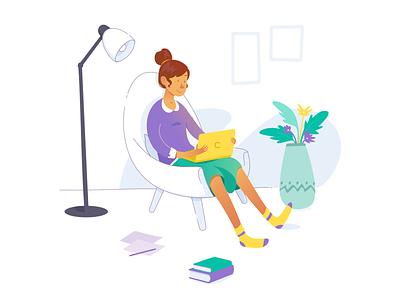 Favorite spot Illustration learning laptop books girl flower vector illustration