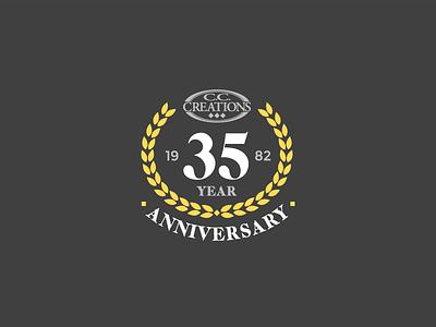CC Creations 35th Anniversary charcoal gold logo design austin robinson cc creations brand design logo