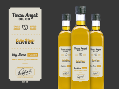 Texas Angel Oil Label charcoal gold logo design austin robinson texas angel brand design logo olive oil label packaging