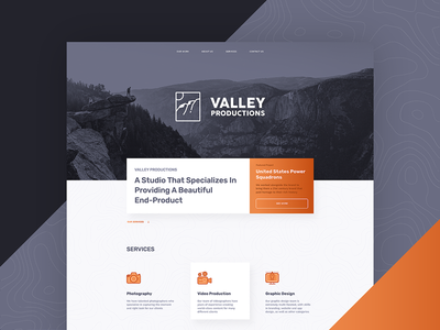 Valley Productions Website ux ui icons navy blue orange page landing homepage site design website