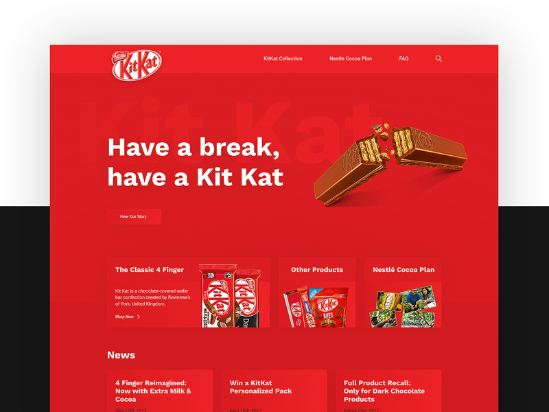 ThirtyUI Challenge #1 - KitKat Homepage gradients homepage red kat kit kitkat ui thirty thirtyui