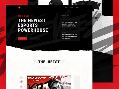 100 Thieves | Website Redesign black and white grunge website grungy website grunge dark website black website red gaming esports nadeshot 100 thieves 100t