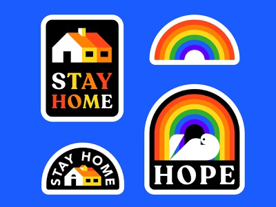 Stickers covid-19 stayhome hope stickers icon vector illustration