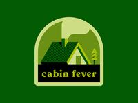 cabin fever covid-19 lockdown nature outdoor cabin badge icon vector illustration