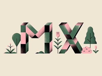 MX texture plants nature minimal shapes design geometric vector illustration