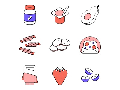 Food icons editorial food line iconography icon minimal geometric vector illustration