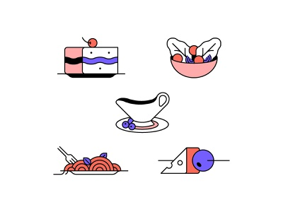 Food Icons - Part 2 food line iconography icon minimal geometric design graphic vector illustration