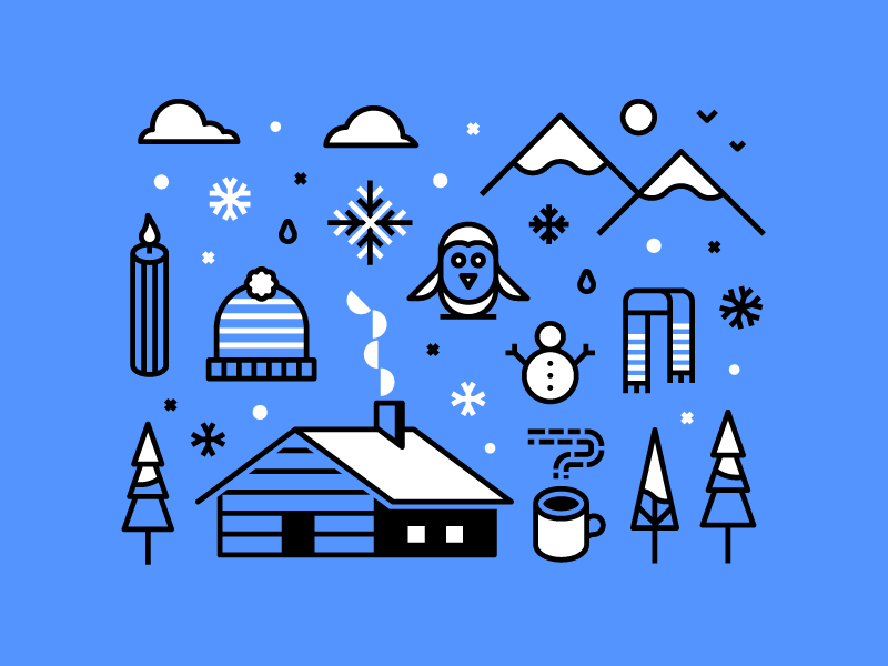 Winter beanie scarf penguin cabin snow winter geometric shape line iconography vector illustration