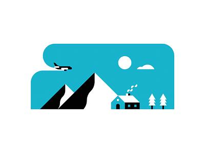 Blue Skies trees house mountain plane snow winter blue minimal icon vector illustration