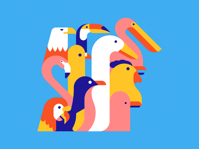 For The Birds colour animals birds shapes minimal bold geometric icon vector illustration