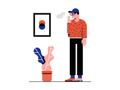Hipster smoke plant art hipster character geometric minimal illustration vector