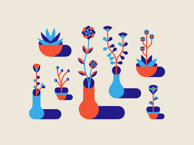 Pot Plants plants potted shapes design geometric minimal vector illustration
