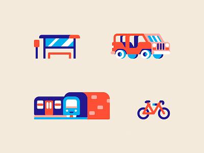 Map Elements transport design geometric minimal vector illustration