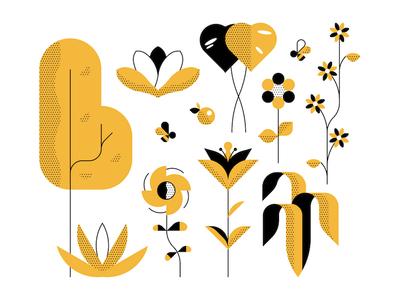 Plants plants shapes design geometric minimal vector illustration