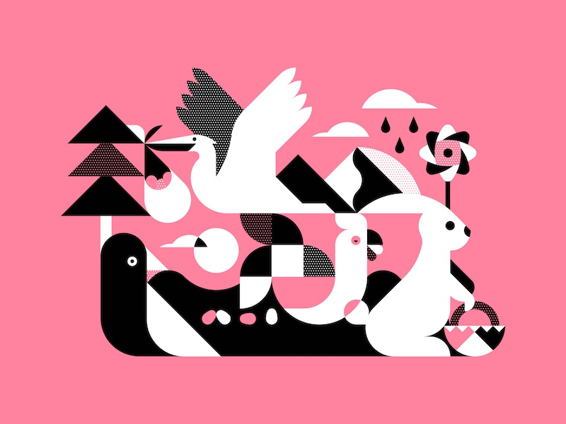 Easter Outdoors outdoors animals geometric minimal vector illustration weekend easter