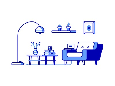 Living Room modern minimal furniture room living icon vector illustration