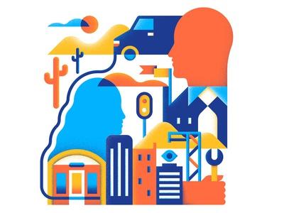 Work Force texture minimal transport city force work design vector illustration