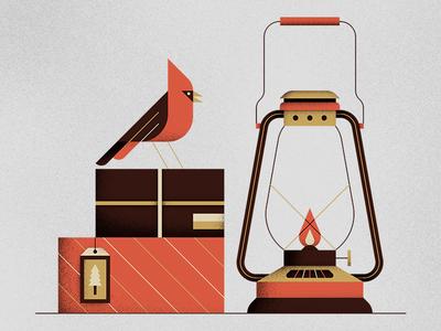 Cardinal & Lantern holidays christmas lantern gifts cardinal vector illustration