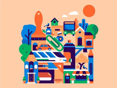 Stationery Village village stationery bold pattern design geometric flat vector illustration