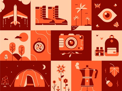 Autumn Exploring shapes minimal geometric design icon vector illustration
