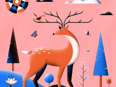 Robin & Roe nature deer roe robin vector design graphic illustration