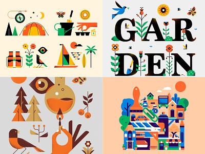 Top Four Twenty Eighteen geometric nature vector design illustration