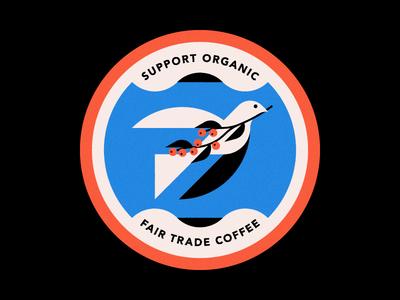 Fare Trade Coffee Coaster design badge illustration beans branch dove peace trade fare organic coaster coffee