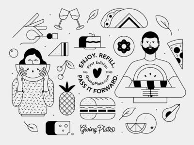 Platter Design people food sharing design share platter line vector illustration