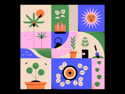 Spring Equinox 2019 sun spring plants shapes minimal geometric design vector illustration