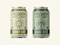 Passion Brewing tree serpent snake sun branding lettering illustraion beer can beer