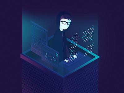 The Back-End neon computer illustration developer back-end programmer