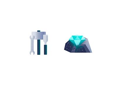The Diamond in the Rough - Grunge Icons I jewel forge craft icon grunge diamond illustration