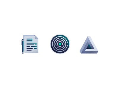 Puzzles and Documents - Grunge Icons II grunge icon puzzle penrose triangle illustration